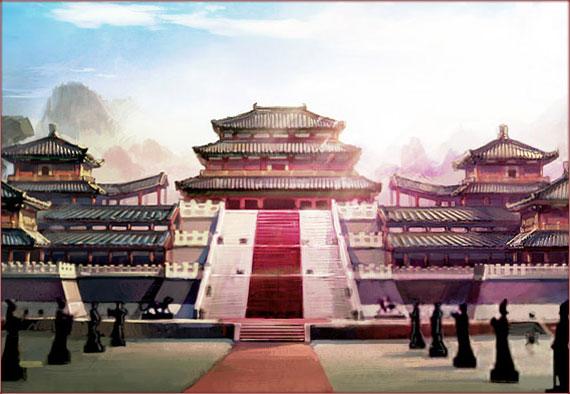 古风宫殿手绘图片