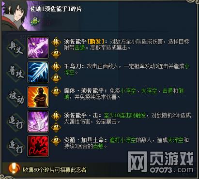 火影忍者OL佐助须佐能乎图鉴属性资料