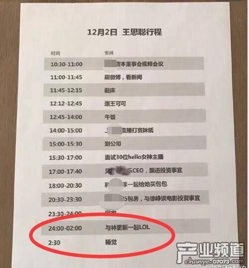 王思聪的一日行程表:陪女生买包还得陪林更新打游戏
