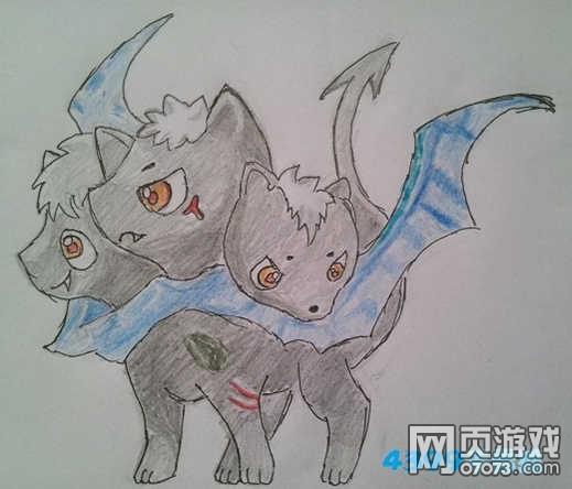 洛克王国小地狱犬手绘