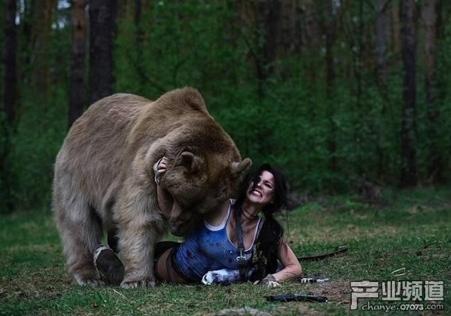 舍命游戏!俄女孩为了cos 居然与棕熊