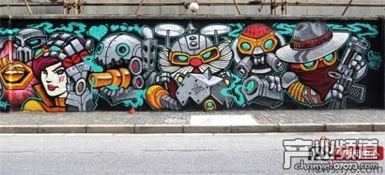LOL玩家涂鸦墙前跳街舞 跟着英雄一起舞动图片