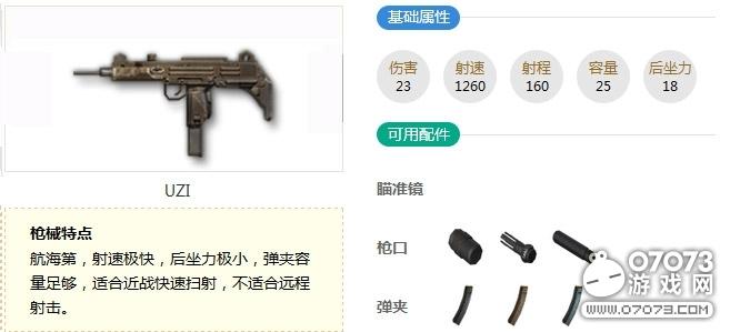 荒野行动UZI冲锋枪属性解析