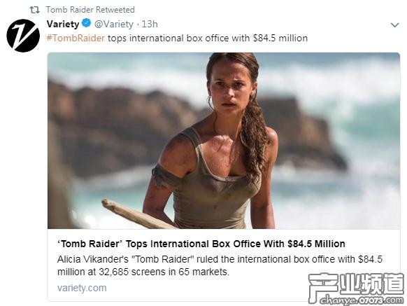 《古墓丽影》全球票房8450万美元 国内观众贡献近50%