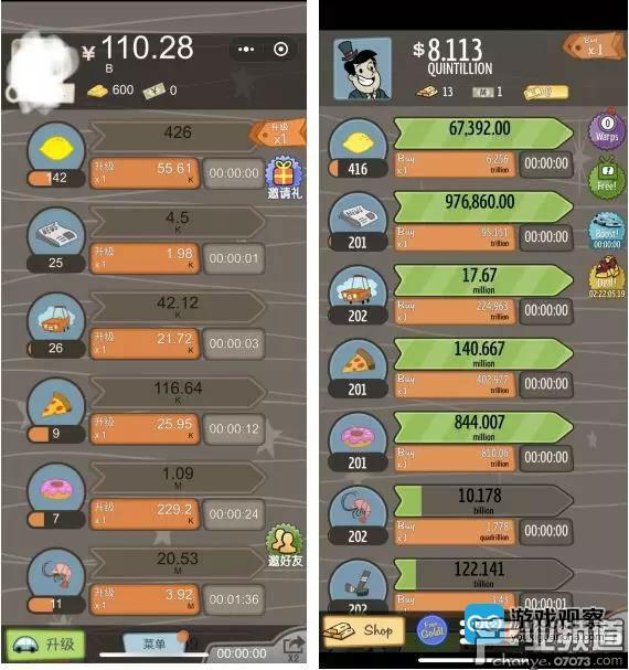 左:微信小游戏冒险资本家界面   右:AdVenture Capitalist界面