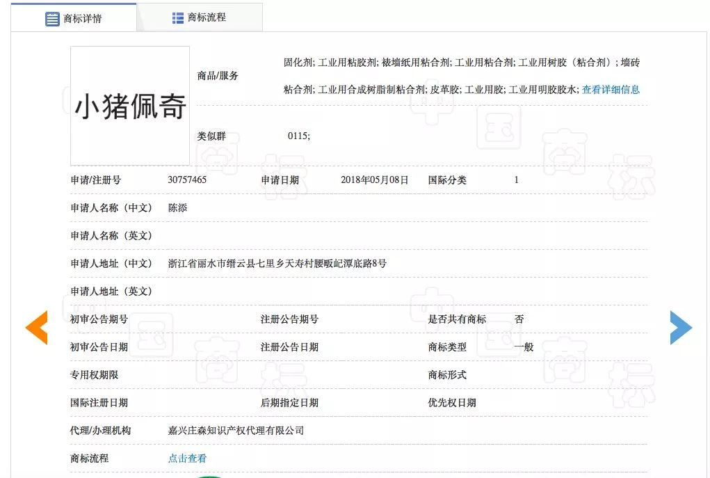 ▲一则以小猪佩奇为名的商标注册信息。图片来源:中国商标网。