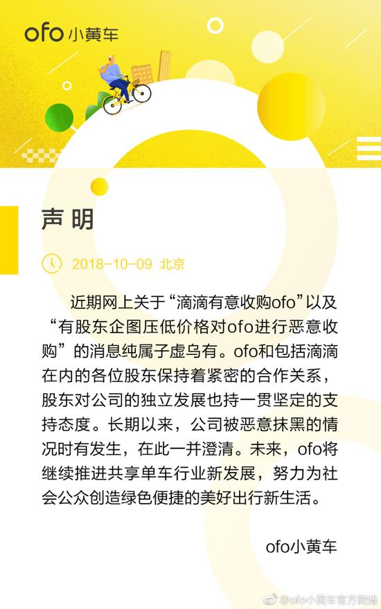 ofo澄清声明 主要内容是解释最近出现的传闻